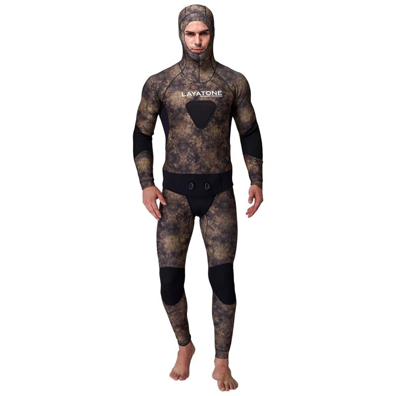 3mm Neoprene Spearfishing Wetsuit For Underwater Hunting Pesca Peche Camouflage With 2mm Diving Suit Vest Open Cell Hood WS-200