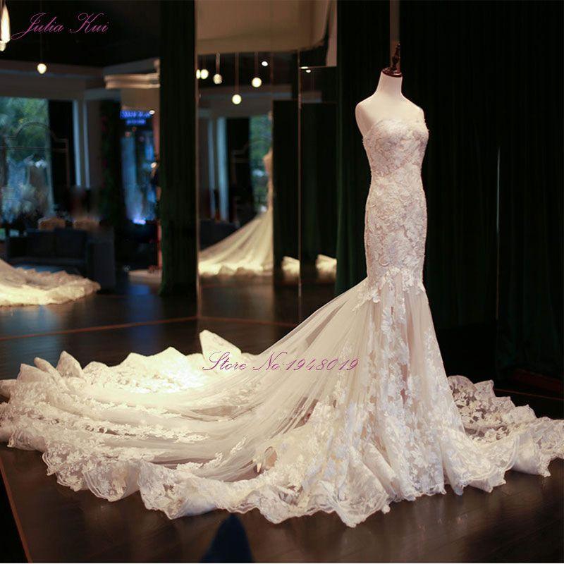 Julia Kui Echt Bilder Vintage Meerjungfrau Brautkleider Friesen Stickerei Appliques Spitze Elegante Braut Kleider Vestido De Noiva
