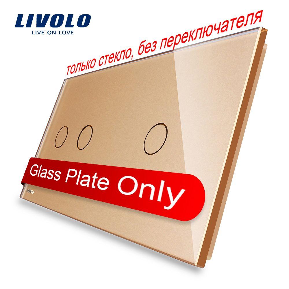 Livolo Luxury Golden Perle Kristall Glas, 151mm * 80mm, EU standard, Doppelglasscheibe VL-C7-C2/C1-13