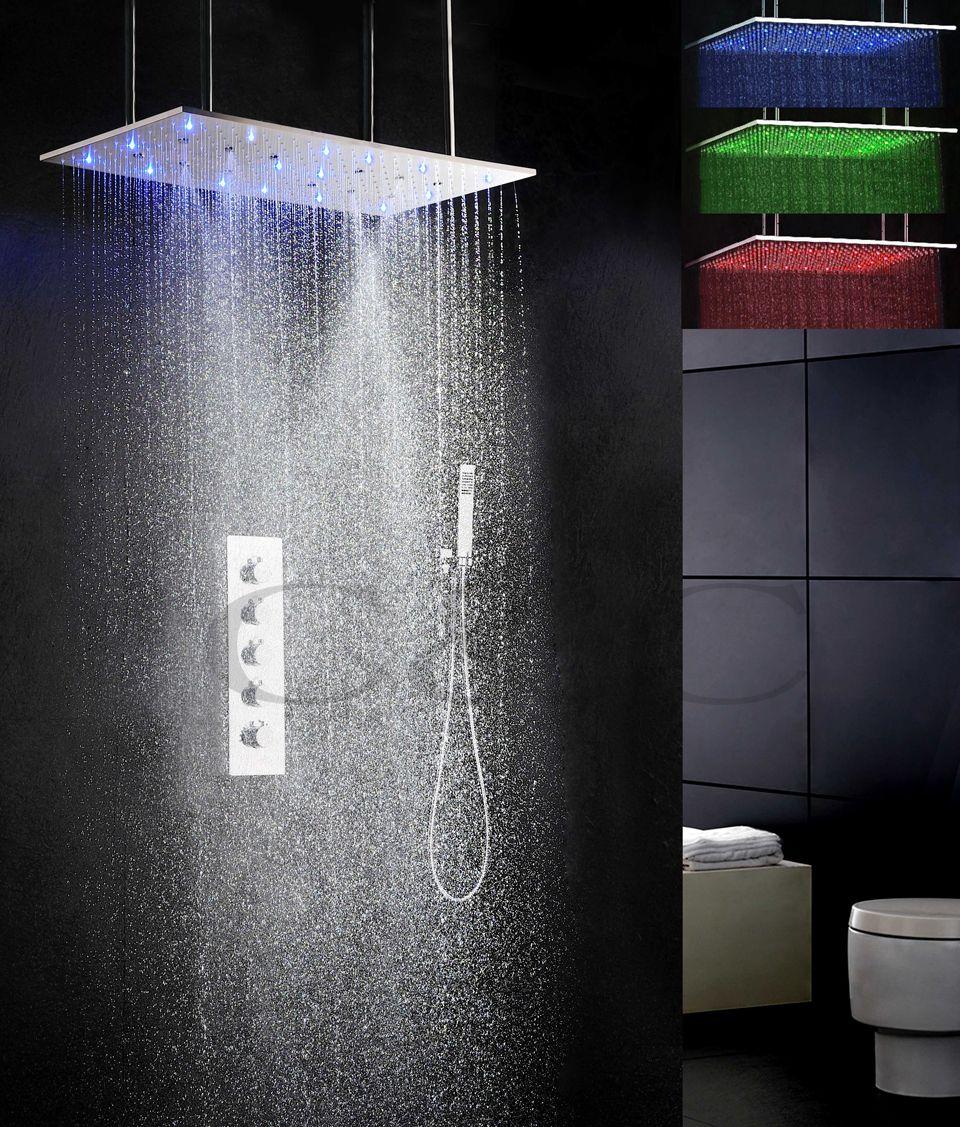 800X400mm Nebel Taumel Und Niederschlag LED 3 Farbe Temperatur Empfindliche Dusche Kopf Badezimmer Bad Dusche Wasserhahn Set