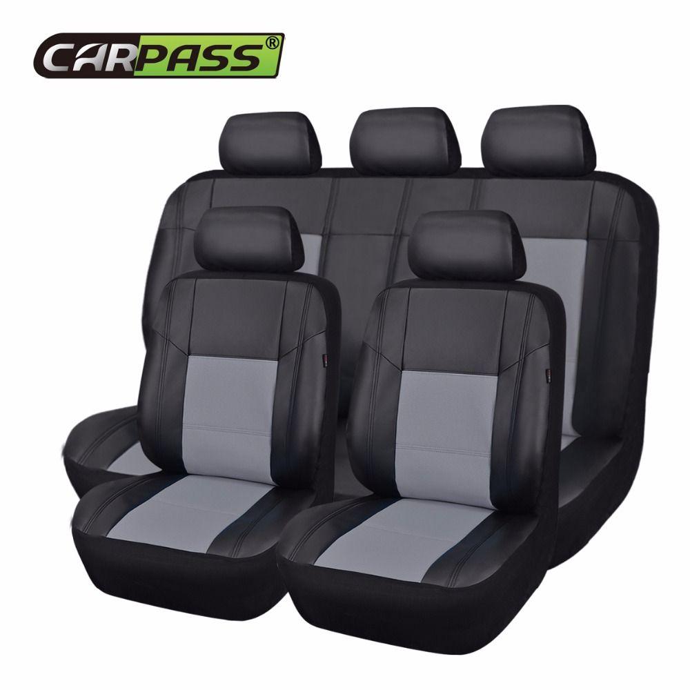 Carpass housse de siège Auto siège complet noir gris 6 couleur Pu cuir artificiel Auto universel voiture bon ajustement Mazda Lada Nissan Hyundai