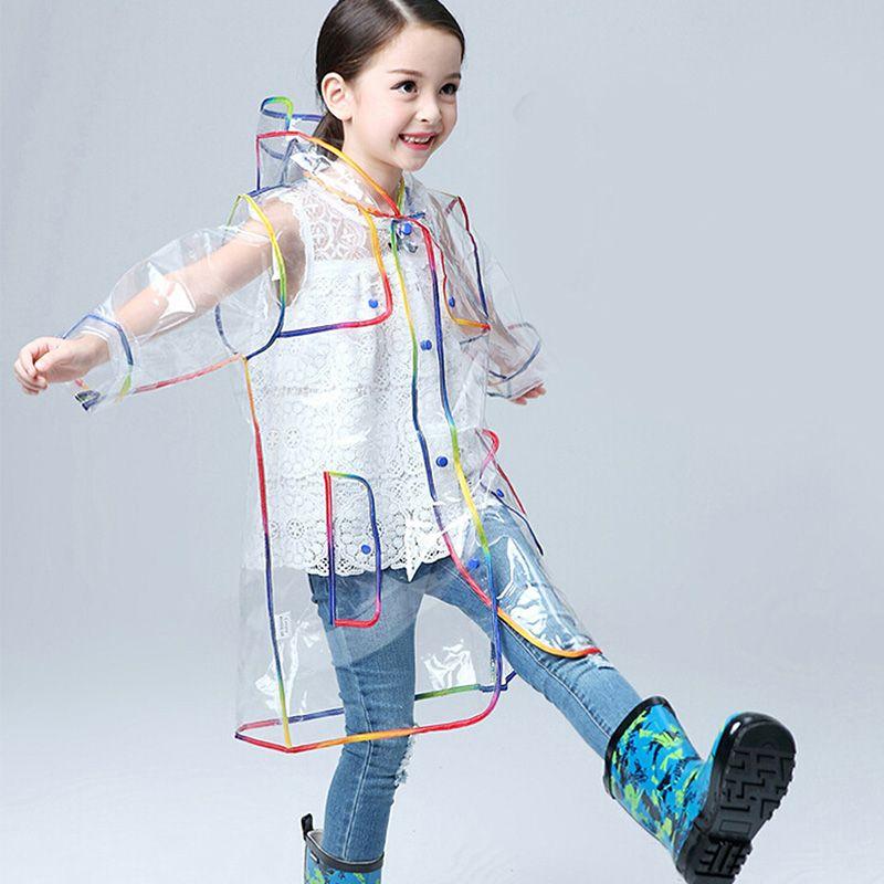 Yuding Transparent Raincoat Boys Rain Coat Hooded Outdoors Clear Waterproof Kids Girls Toddler Children's Raincoats Rainwear