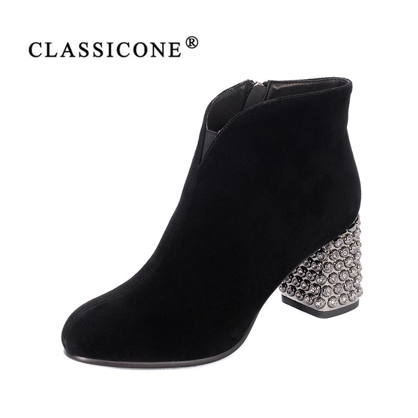 women shoes spring autumn woman boots ankle middle high heel pumps genuine leather fashion brand crystal decoration CLASSICONE