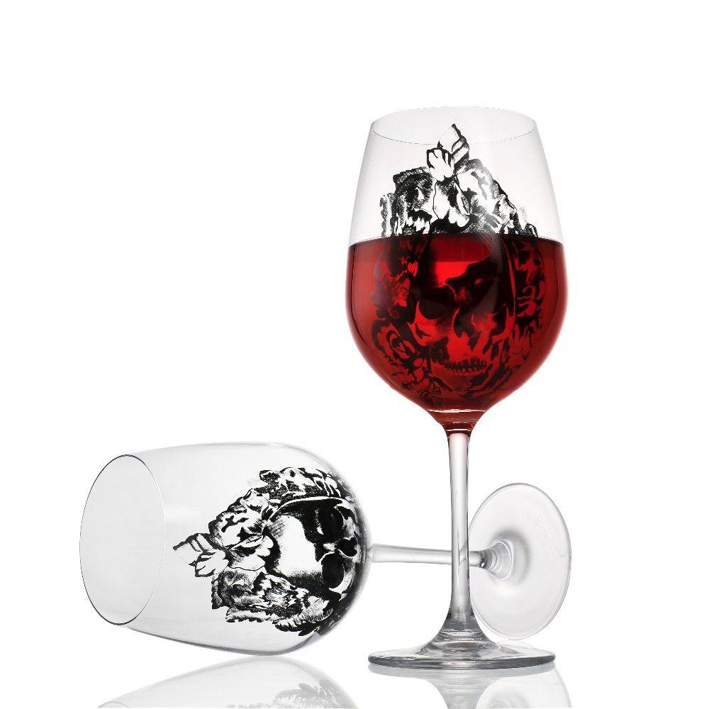 De haute Qualité Sans Plomb Cristal Verre de Vin Avec Diamant Tasse Gobelet De Vin De Mariage En Verre Crâne Tasse En Verre Pour Festival de noël Cadeau
