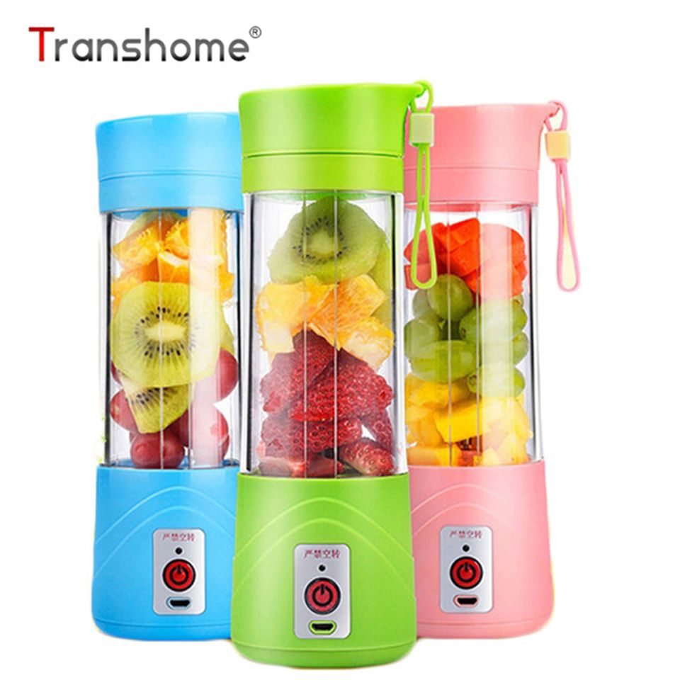 Transhome USB Rechargeable Juicer Water Bottle 400ml Mini Portable Electric Lemon Fruit Juicer Milkshake Smoothie Maker
