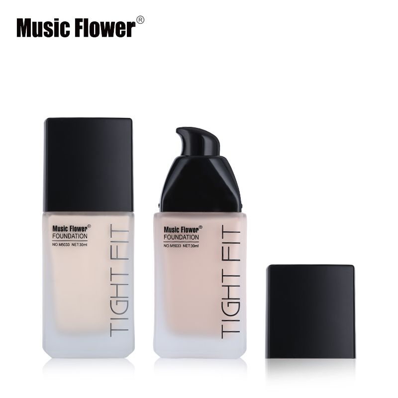 Music Flower Face Makeup Base Oil-Control Full Coverage Liquid Foundation Tight Fit Skin Tone Concealer Velvety Smooth Finish