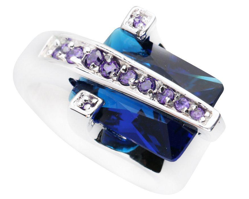 Impresionante Azul Piedra 10*14mm Piedra semipreciosa de Plata Fresco Para Las Mujeres Anillo Q1258