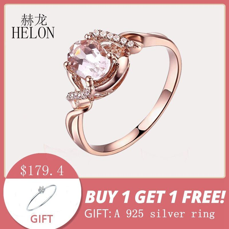HELON Gift Solid 10K Rose Gold 0.9CT Oval 7x5mm Morganite Ring Pave Natural Diamond Engagement Wedding Fine Jewelry Women's Ring