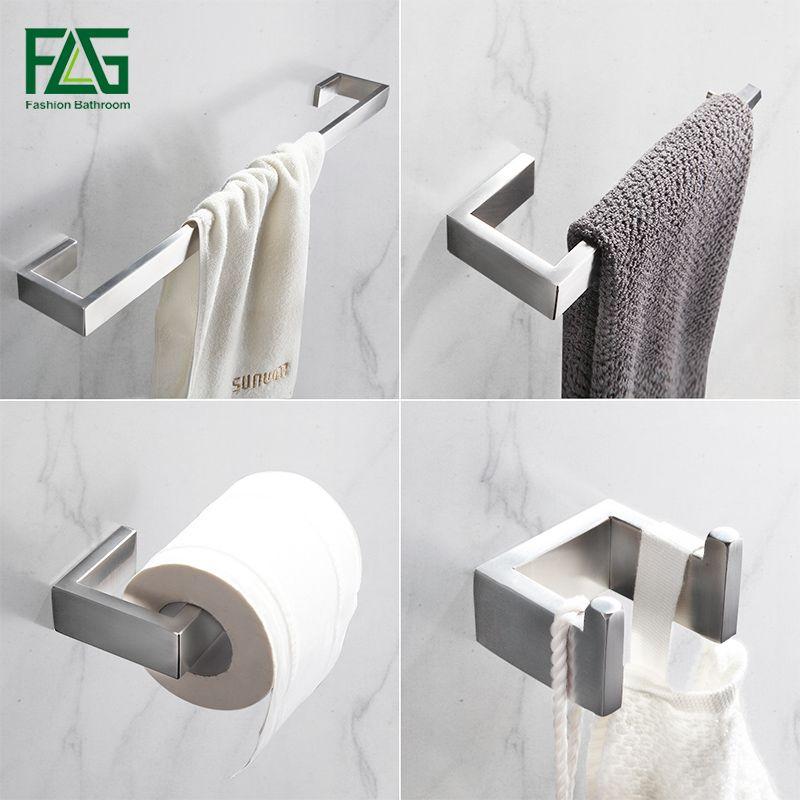 FLG 304 Stainless Steel Brushed Nickel Wall Mount Bath Hardware Sets Towel Bar Robe hook Paper Holder <font><b>Bathroom</b></font> Accessories Set