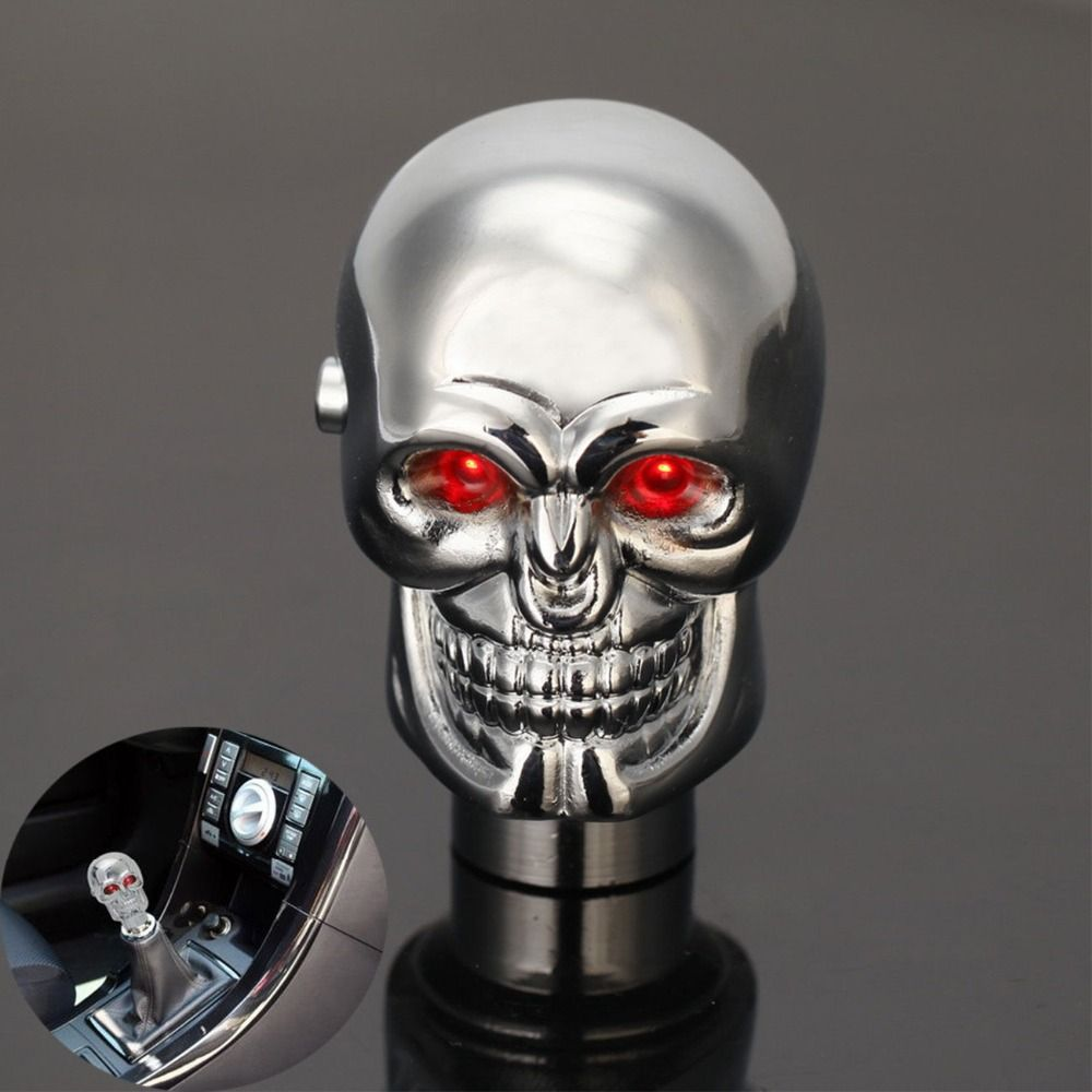 -94% OFF Universal Manual Auto Car Replacement Gear Knob Shifter Lever Chrome Red LED Eyes Cool Skull Automobiles Gear Shift