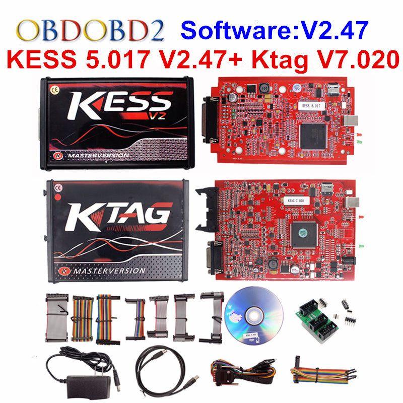 KESS V2 V5.017 KTAG V7.020 OBD2 Manager Tuning Kit Red EU KESS 5.017 V2.47 Red K tag K-TAG 7.020 No Tokens Master Online Version