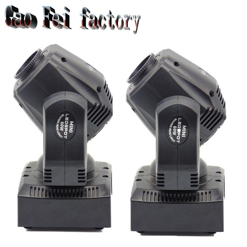 2 Pcs new arrive 60W led spot moving head beam light disco dj DMX512 professional stage gobo effect projector