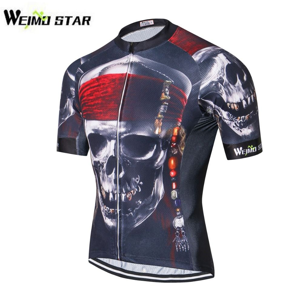Men Cycling Jersey 2018 Short Sleeve Jersey 3D <font><b>Wolf</b></font> Pirate Skull Bike Bicycle Clothing Sportswear Shirt Mailots S-3XL