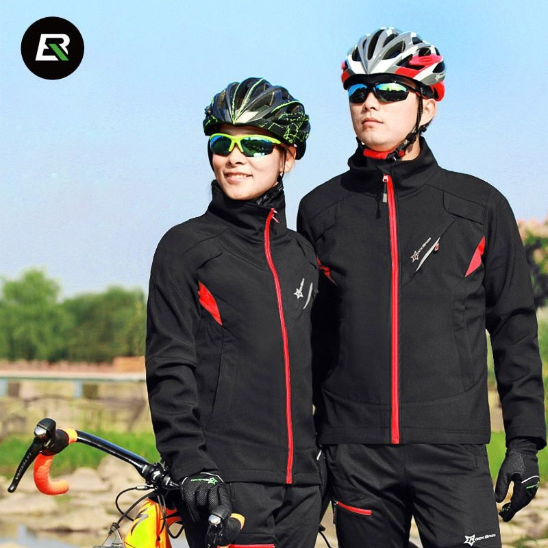 Rockbros Winter Cycling Set Thermal Fleece Men Women Bike Cycling Jersey Windproof Warm Bicycle Jersey Cycle Clothing Set