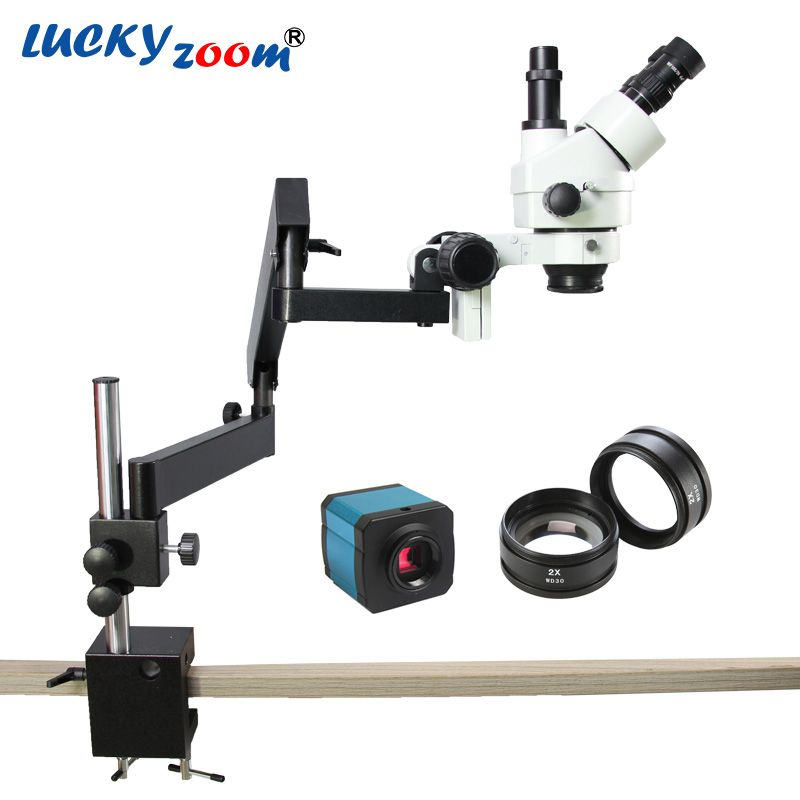 Chanceux Zoom 7X-90X Bras Articulé Zoom Stéréo Microscope + 14MP USB HDMI Numérique L'industrie Caméra SZM2.0X Objectif Auxiliaire Objectif