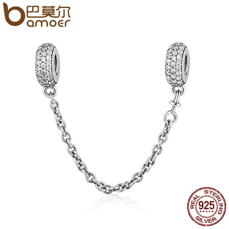 100% 925 Sterling Silver Pave Inspiration Safety Chain, Clear CZ Stopper <font><b>Charms</b></font> fit <font><b>Charm</b></font> Bracelet DIY Jewelry PSC011