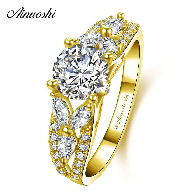AINUOSHI 10k Solid Yellow Gold Shinning Ring Female Wedding Engagement Jewelry 4 Prongs 1ct Round Cut SONA Diamond Bridal Bands