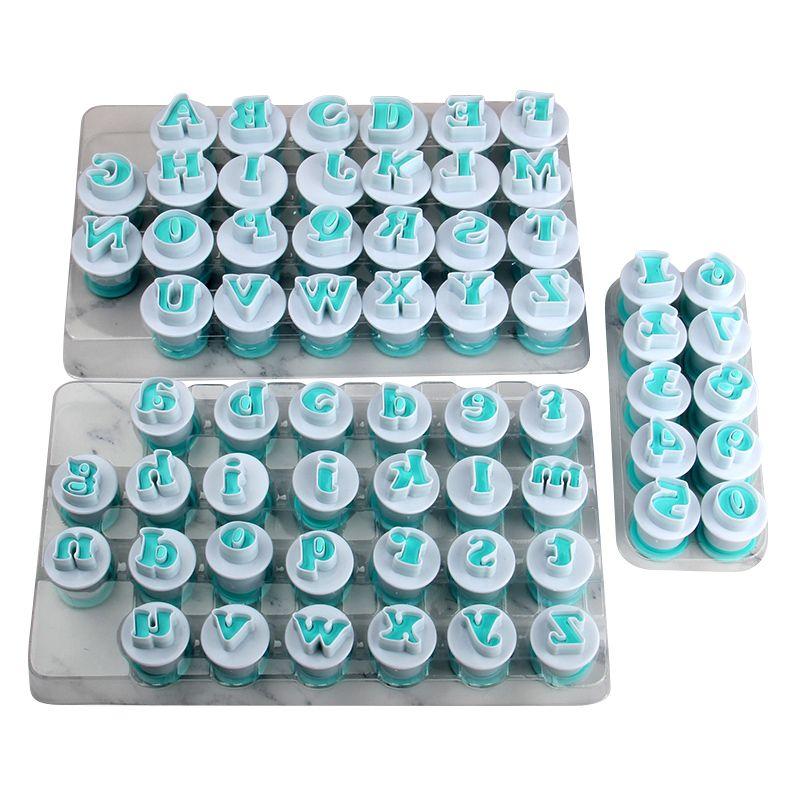 Livraison gratuite De Haute Qualité FDA 26 pièces En Plastique Majuscules, Lowcase Lettres & 10 pièces Numéros Forme Gâteau Fondant Moules ensemble (3 ensembles/lot)