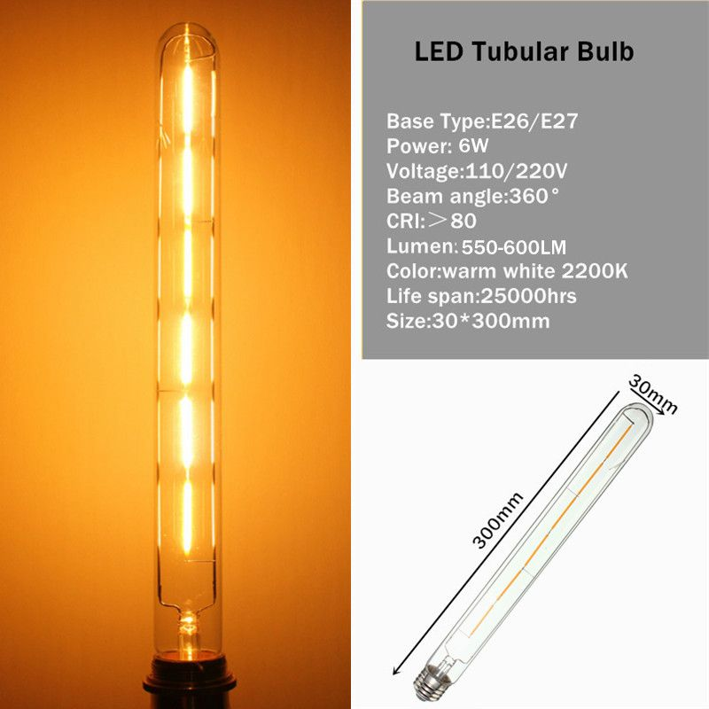 Smuxi E27/E26 T30 6W Edison Retro Vintage COB LED Filament Light Bulb Tubular Lamp Warm White Dimmable 110/220V