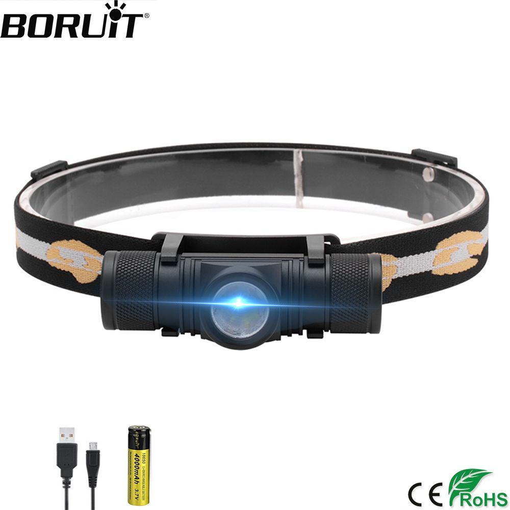 BORUiT D10 3000 lumens XM-L2 LED phare USB Rechargeable vélo phare 18650 batterie tête torche Camping pêche lampe de poche