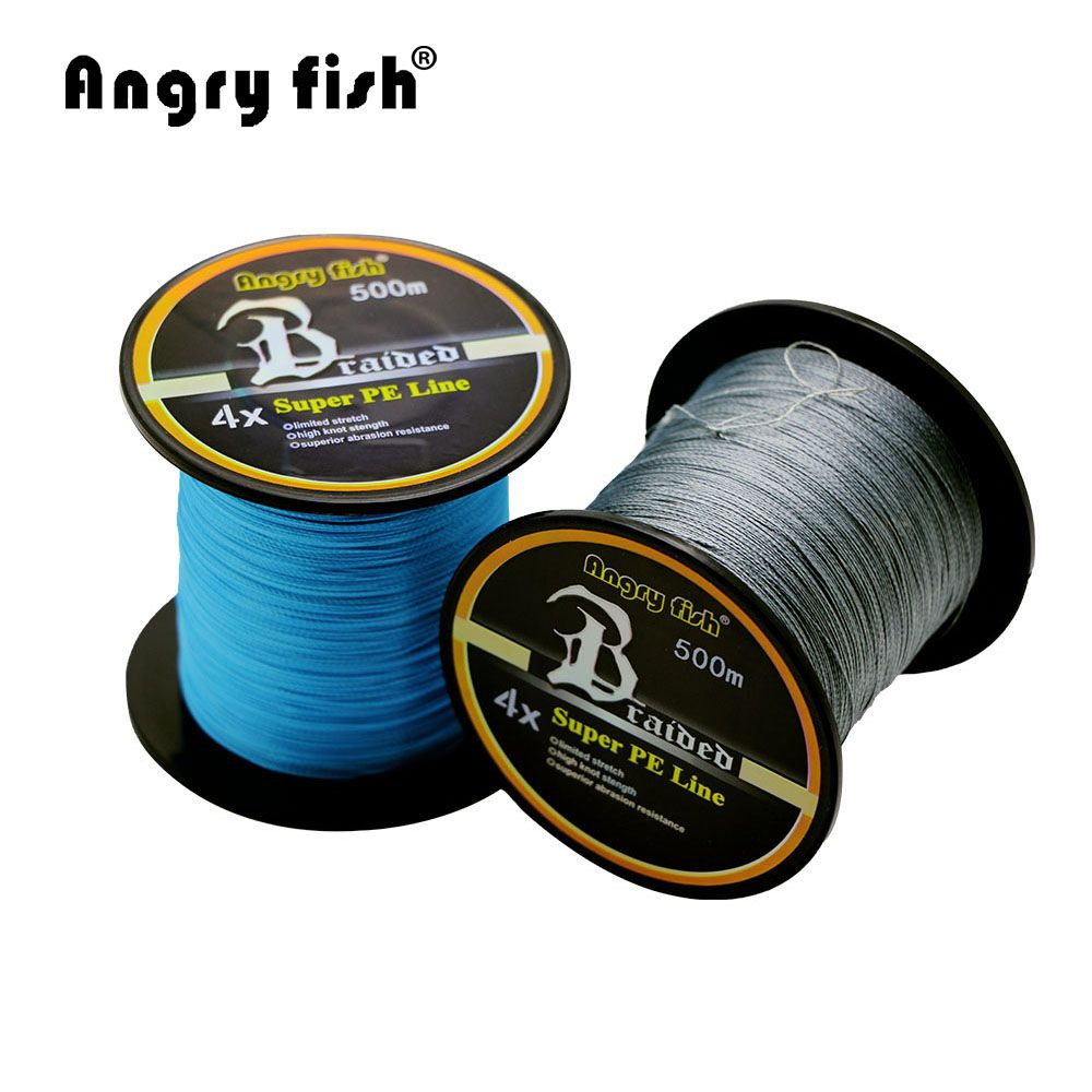Angryfish Hot New 500m 4 Strands Braided Fishing Line 11 Colors Super PE Line Strong Strength