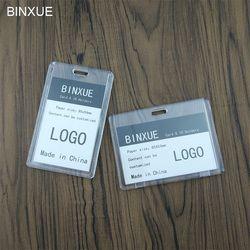 BINXUE Penutup kartu, Dua sisi bahan Akrilik transparan ID Pemegang, karyawan kartu identifikasi tag, staf vertikal Teles