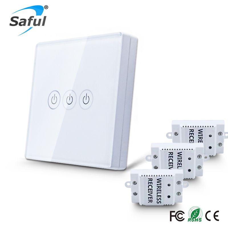 Saful Standard 12 V sans fil interrupteur de lumière murale LED interrupteur tactile 3 gang 3 voies bricolage commutateur de commande à distance pour la maison livraison gratuite