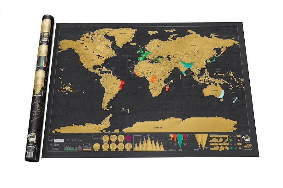 Free shipping Deluxe Black Scratch off Map World Map Best Decor