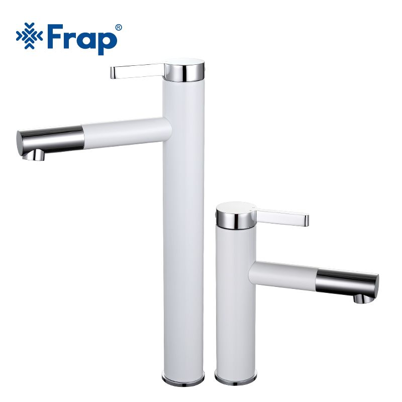 Frap New Arrival White Spray Painting bath sink faucet Bathroom cold and hot tap <font><b>Crane</b></font> with Aerator 360 Rotating F1052-14/15