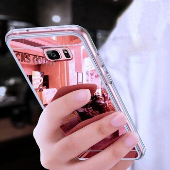 D'origine De Luxe Miroir TPU Cas pour Samsung Galaxy A3 A5 A7 J3 J5 J7 J1 2016 2017 S9 S8 Plus S6 S7 Bord Grand-Premier Cas mince
