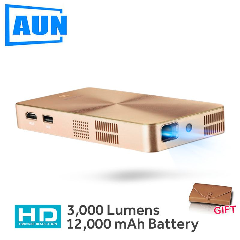 AUN MINI Projector D9 Built-in 12,000mAH Android 5.1 Battery 2.4G/5G WIFI, Bluetooth, . HDMI. Support 4K DLP Beamer