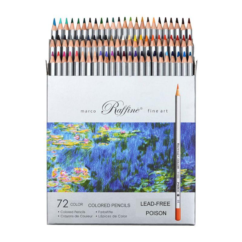 Marco 24/36/48/72 pièces ensemble de peinture au crayon de couleur lapis de cor Non toxique sans plomb crayon de couleur grasse stylo d'écriture fournitures scolaires