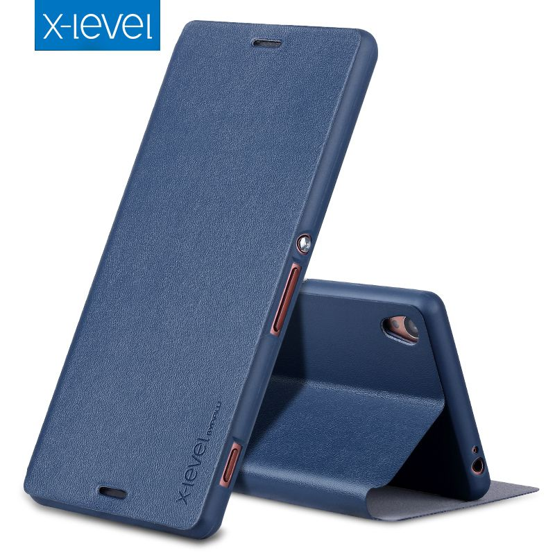 X-Level Luxury Business Style PU Leather Case for Sony Xperia Z3 Flip Cover for Sony Z3 D6603 D6643 D6653 D6616 Stand Case Cover