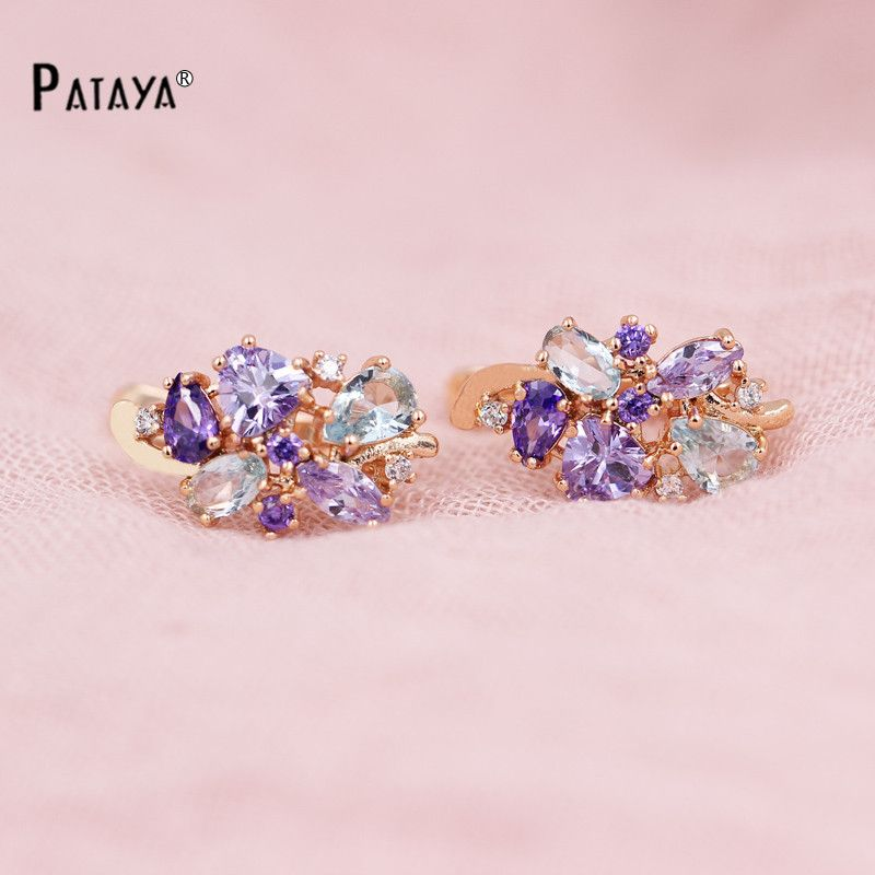 PATAYA Multi-Colored Natural Cubic Zirconia Long Earrings 585 Rose Gold RU Hot Exclusive Design Jewelry Women Luxury Earrings