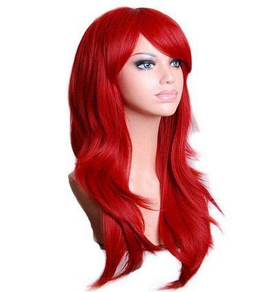 QQXCAIW Long Ondulé Cosplay Perruque Rouge Vert Puprle Rose Noir Bleu Ruban Gris Blonde Brun 70 cm Synthétique Cheveux Perruques