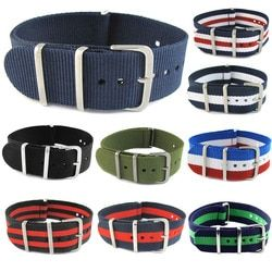 James Bond 007 Army Sports Nato Fabric Nylon WatchBand 18 20 22 mm Black Blue Buckle   Belt Canvas For Men Watch Strap