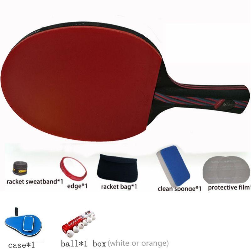 Hybride Bois 9.8 en fiber de carbone tennis de Table raquette collé avec double visage Boutons-en bleu en caoutchouc Ping-Pong Raquette tenis de mesa