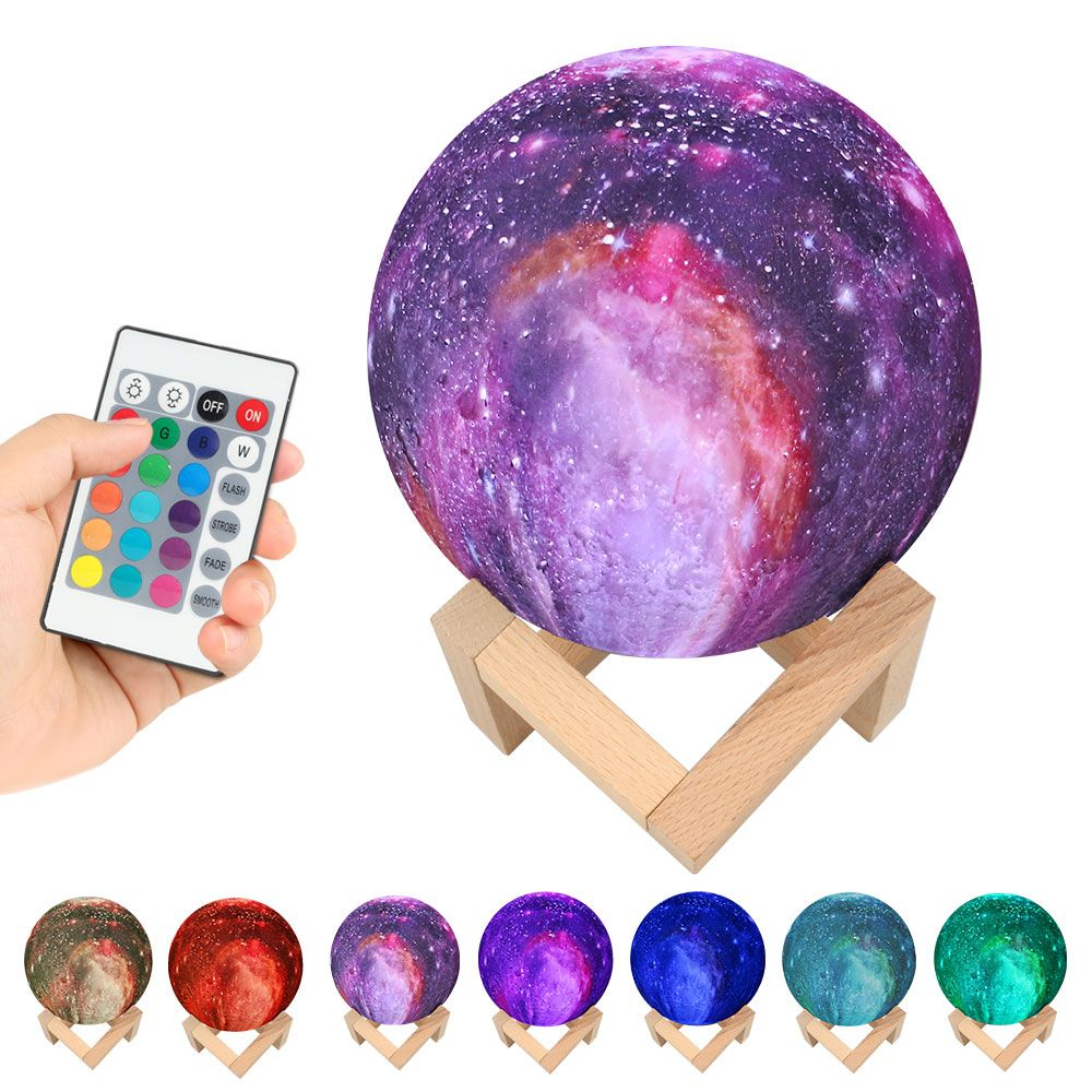 3D Print Star Moon Lamp 15CM Colorful Change Planet Lamp Home Decoration Creative Gift Starry Sky Night Light Galaxy Lamp