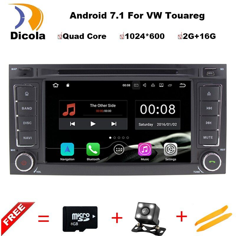 1024X600 Android 7.1.1 Quad Core Auto DVD GPS Radio für Volkswagen VW Touareg T5 Transporter Multivan 2004-2011 3G Stereo system