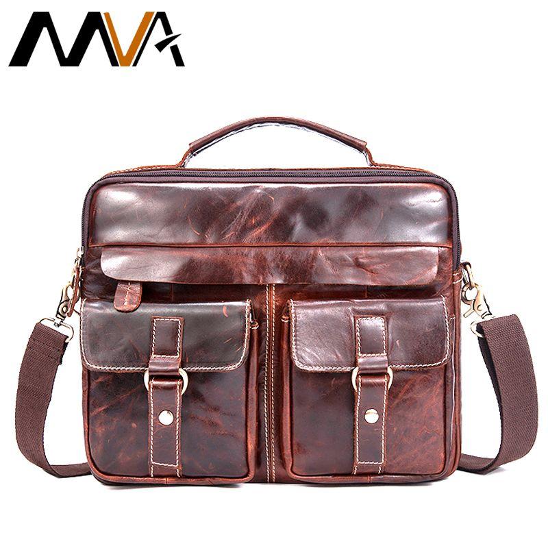 MVA Messenger Tasche Männer Echtes Leder Männer Tasche Männlichen Aktentasche Schulter Leder Laptop Tasche Umhängetaschen für dokument Handtaschen