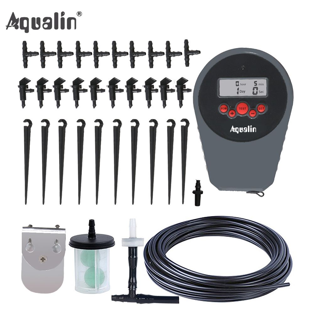 Automatic LCD Display Drip Irrigation Set Garden Flower Water Timer Watering Kit with Built-in High Quality Membrane Pump #22078