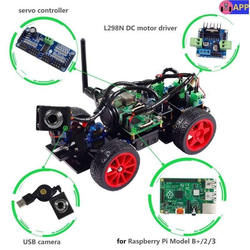 SunFounder Smart Remote Control Video Car Kit for Raspberry Pi 3 with Android APP Compatible with RPi 3 2 and RPi 1 Model B+