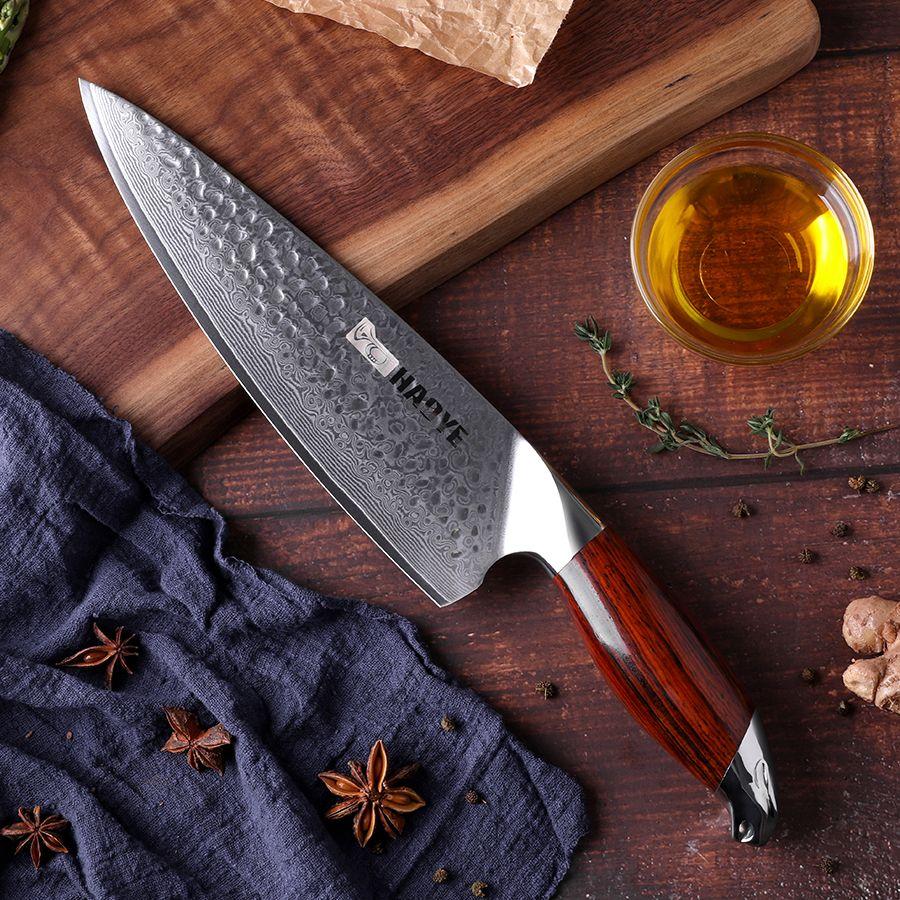 Japon couteaux de cuisine vg10 damas acier 8 pouces couteau de chef artisanat marteau avec poignée en palissandre individualité maître cuisine