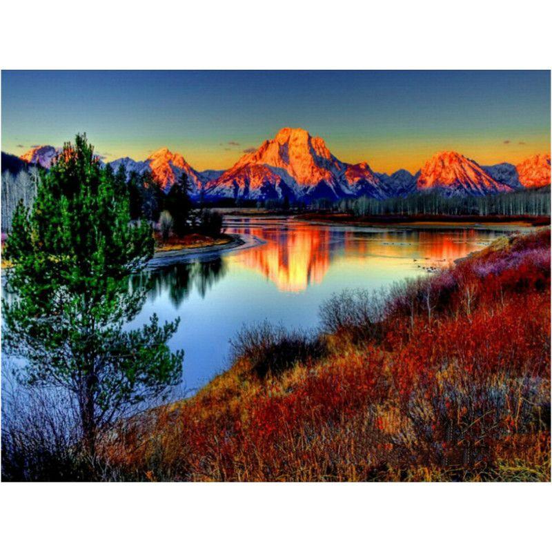 Peinture par numéros bricolage livraison directe 50x65 60x75cm alpin coucher de soleil lac Reflec paysage toile mariage décoration Art image cadeau