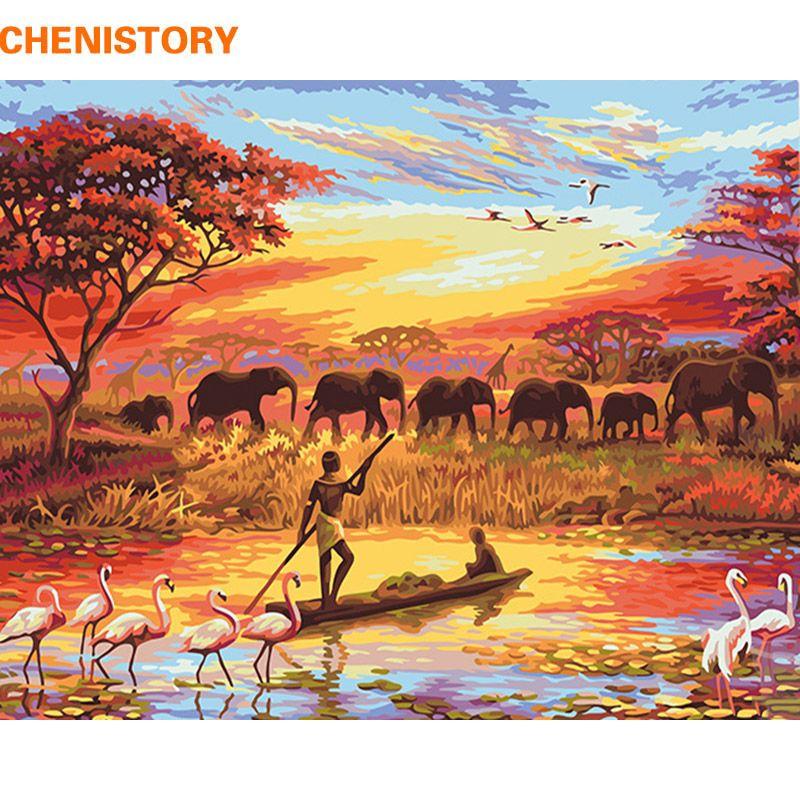 CHENISTORY Éléphant Sunset Bricolage Peinture Par Numéros Paysage Moderne Mur Art Toile Peinture Peint À La Main Cadeau Unique Pour La Maison