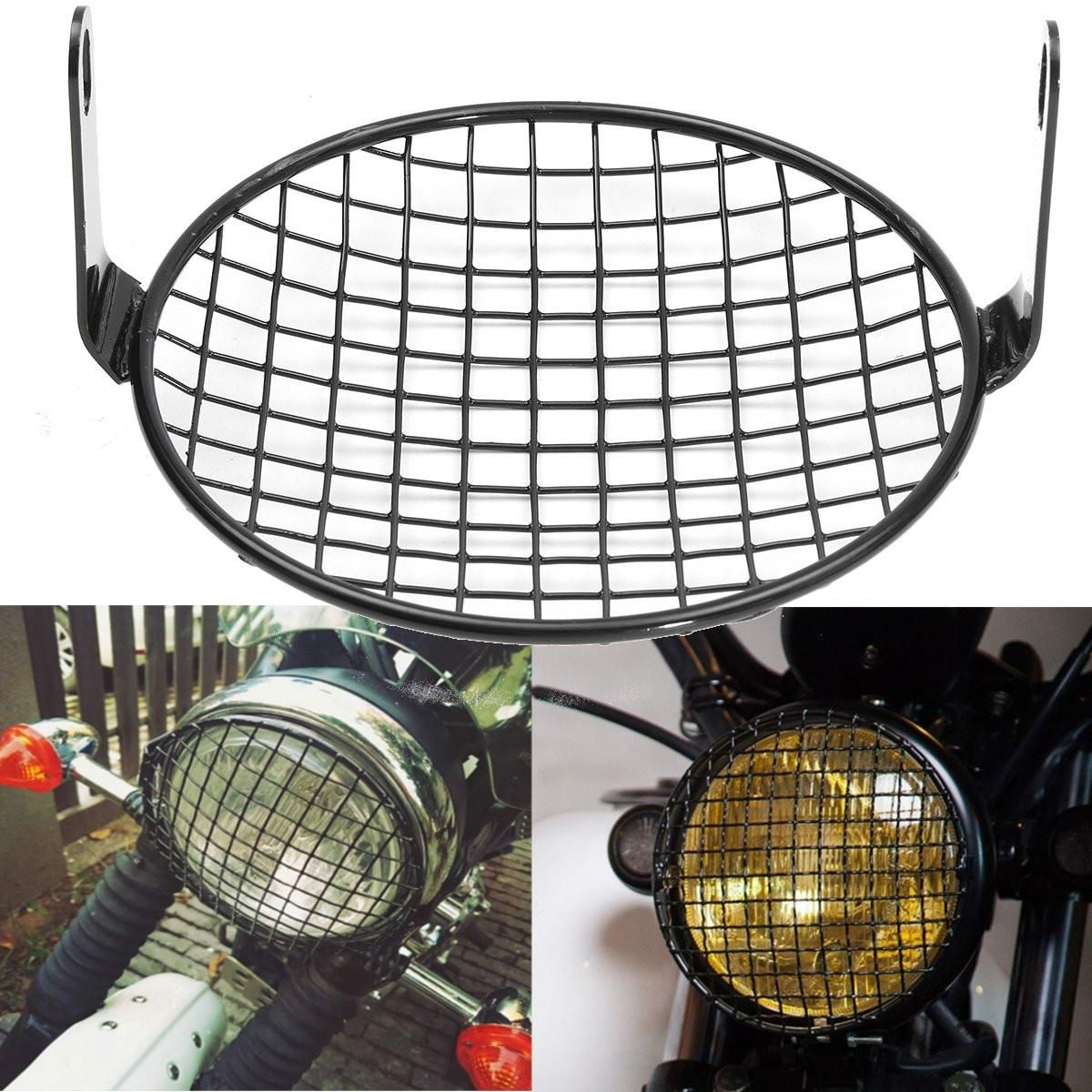 16cm 6.4 Inch Steel Retro Motorcycle Grill Mount Headlight Lamp Cover For Honda /Bobber /CB