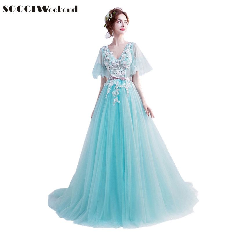 SOCCI Weekend Green Blue Prom Dress 2018 Tulle Embroidery Beaded Formal Party Dresses 3D Flowers Robe de Women Evening Gowns