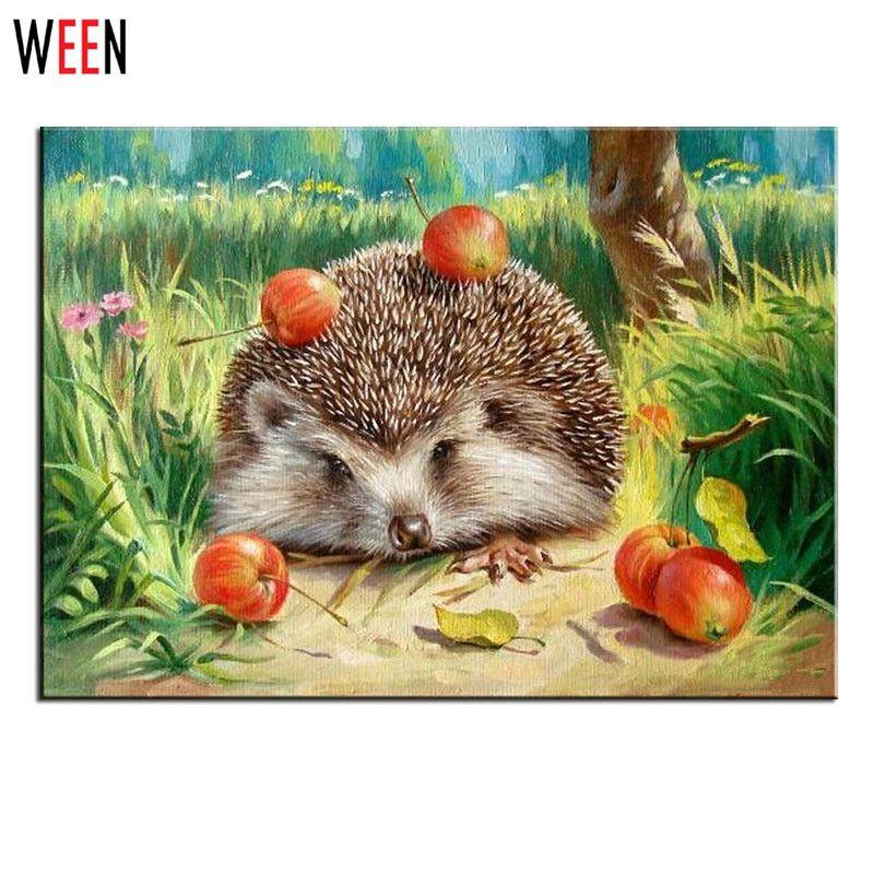Halloween huile hérisson peinture par numéros photos murales pour salon Animal Cuadros toile bricolage Art numérique décor à la maison enfant cadeau