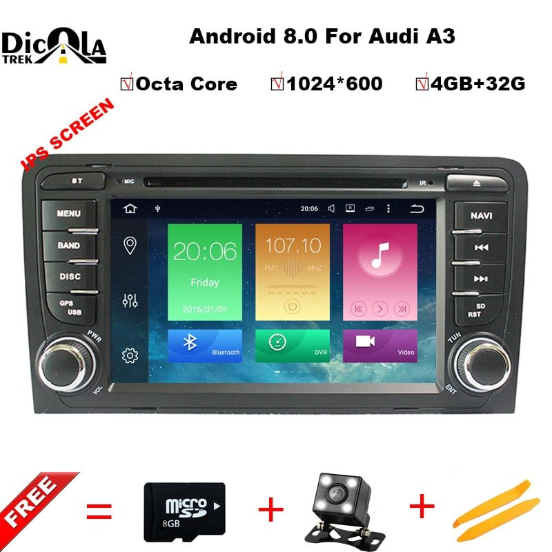 4GB RAM Android 8.0 Car DVD Player Multimedia for Audi A3/S3 2002-2011 with Canbus Bluetooth WIFI GPS Navigation Radio Free Maps