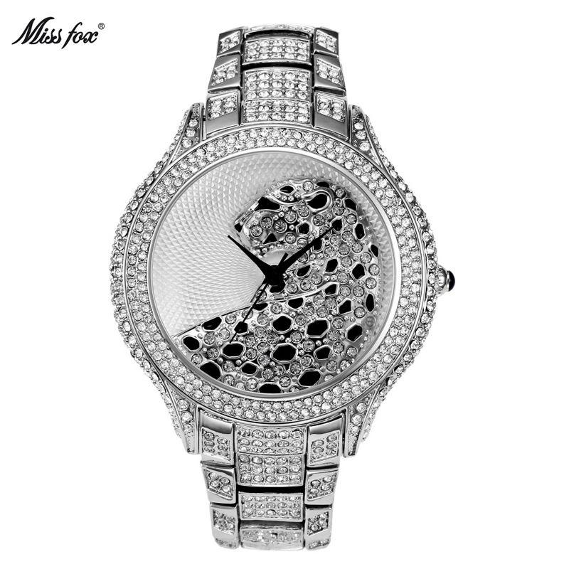 MissFox лучший бренд класса люкс Для женщин кварцевые часы Тигр роль леди Часы полный С кристалалми и стразами серебряные женские часы horloges ...